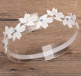 Haarband ivoor bloemen glittersteentjes