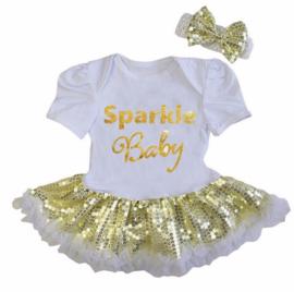 Babyjurk Sparkle Baby goud glitter + haarband
