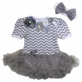 Feestjurk baby zigzag grijs + haarband