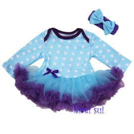 Babyjurk blauw/paars stippen lang/korte mouw + haarband