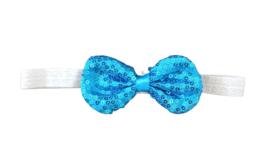 Haarband strik met pailletten, wolkenblauw
