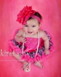 Pettiskirt + gehaakte top Luipaard pink