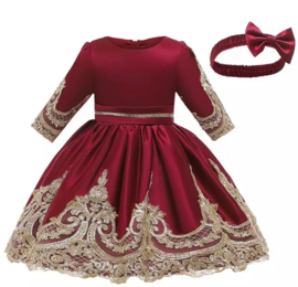 Winter feestjurk robijn rood met haarband