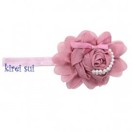 Haarband theeroze roos parels