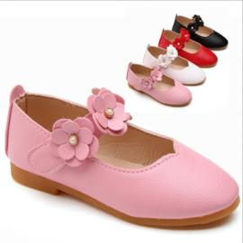 Kinder schoen roze met bloemen