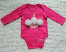 Baby romper pink Cupcake creme lange mouw