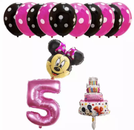 Minnie Mouse ballon set ROZE 5 jaar (13-delig)