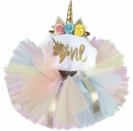 Unicorn verjaardagset One + haarband unicorn