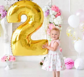 Folie Ballon cijfer 2 - goud