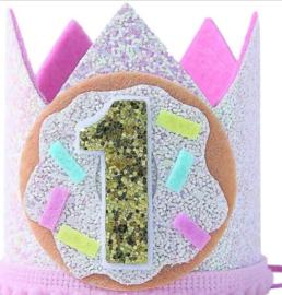 Haarband kroon 1 jaar, sweet