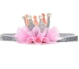 Luxe haarband kroon zilver/roze pareltjes