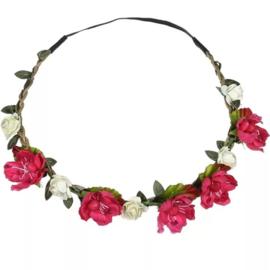 Haarband bloemen pink