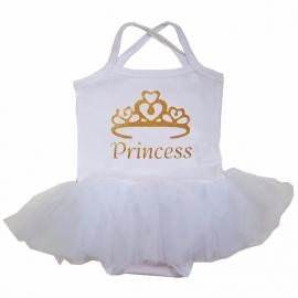 Babyjurk tutu wit Princess goud