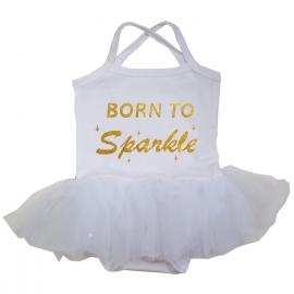 Babyjurk tutu wit Born to Sparkle