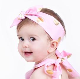 Knoop haarband roze polkadot