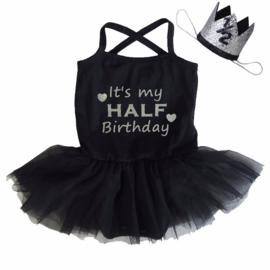 Verjaardag babyjurk It's my Half Birthday