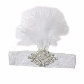Haarband kant veren wit