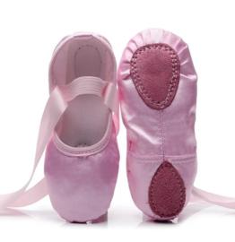 Balletschoen pink satijnen lint