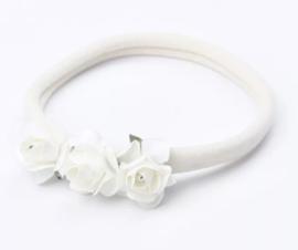 Haarband roosjes, wit