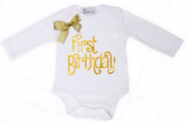 First Birthday lang/korte mouw wit