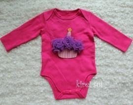 Baby romper pink Cupcake paars lange mouw