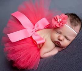 Newborn tutu + haarband kant, watermelon