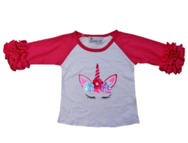 Unicorn T-shirt ogen pink