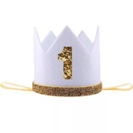 Haarband kroon wit 1 jaar vilt