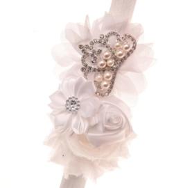 Haarband WIT met bloemen en pareltjes