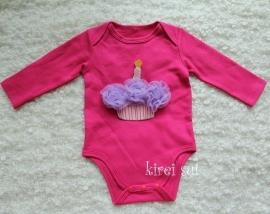 Baby romper pink Cupcake lavendel lange mouw