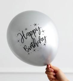 Ballon Happy Birthday Zilver, 5 stuks