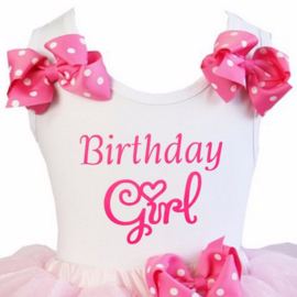 Verjaardag shirt - Birthday Girl  pink strikken