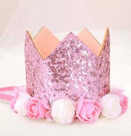 Haarband kroon roze glitter