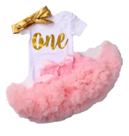 Luxe verjaardag set ONE roze + haarband (3-delig)