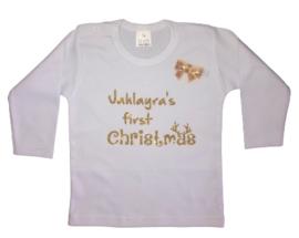My first Christmas shirt glitter + naam + gratis haarknip strik