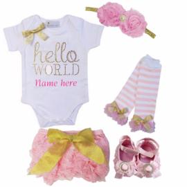 Hello World set roze + eigen naam (5-delig)