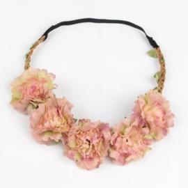 Haarband bloemen koraalrood
