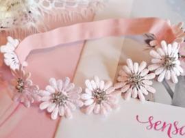 Haarband bloemen roze strass