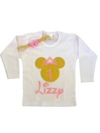 Minnie Mouse shirt roze/goud GETAL  + NAAM (2-delig)