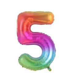 Folie Ballon cijfer 5 - regenboog