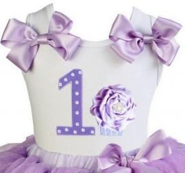 Top 1 jaar glitter lavendel cupcake