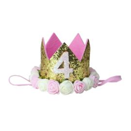 Haarband kroon goud roosjes 4 jaar