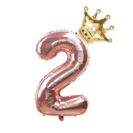 Folie Ballon Kroon + cijfer 2 - goud met rosé goud