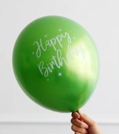 Ballon Happy Birthday groen, 5 stuks