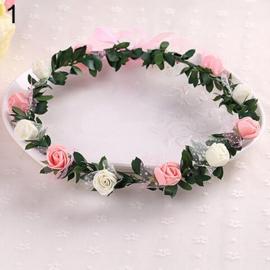 Bloemenkrans roze/wit/groen