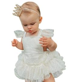 Fotoshoot babypakje wit met knoophaarband