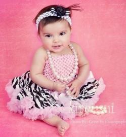 Pettiskirt + gehaakte top Zebra roze