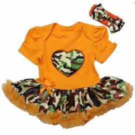Babyjurk hart camouflage oranje + haarband