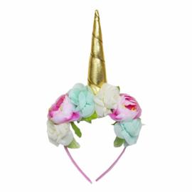 Unicorn diadeem romantische bloemen