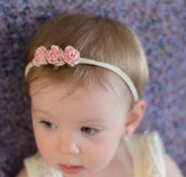 Haarband roosjes, roze